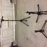 Assorted mic stands and trumpet stand