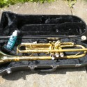 Jupiter trumpet, case, 2 mouthpieces, valve oil.